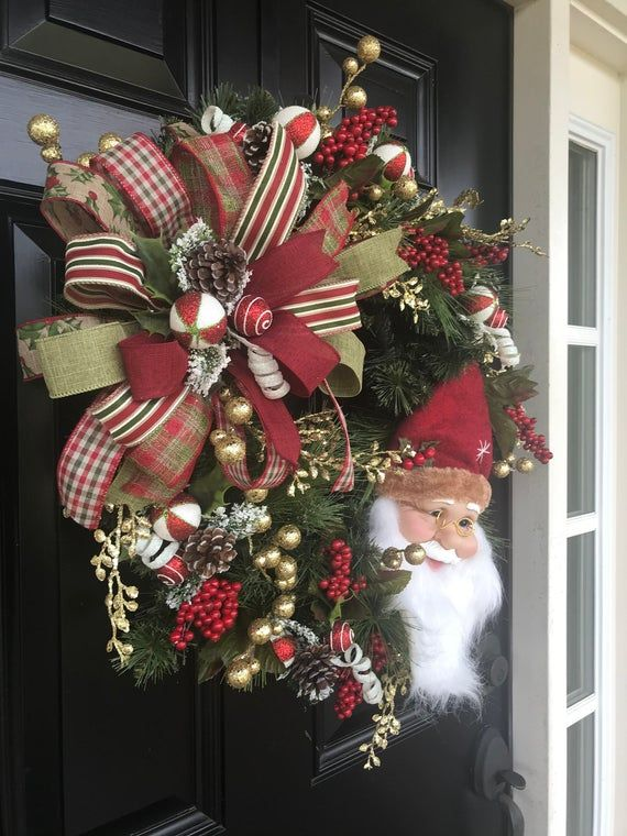 CHRISTMAS WREATH for Front Door, Holiday Decor, Santa Wreath, Holiday Wreath, Christmas Decor, Winte