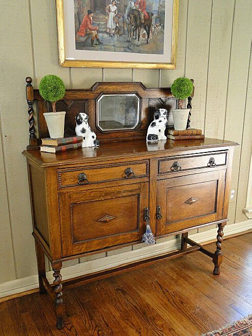 English Sideboard Buffet Server Barley Twist Jacobean Gorgeous