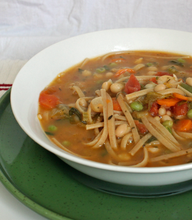 Chickpea Noodle Soup from the cookbook One-Dish Vegan #chickpeanoodlesoup Chickpea Noodle Soup from the cookbook One-Dish Vegan #chickpeanoodlesoup