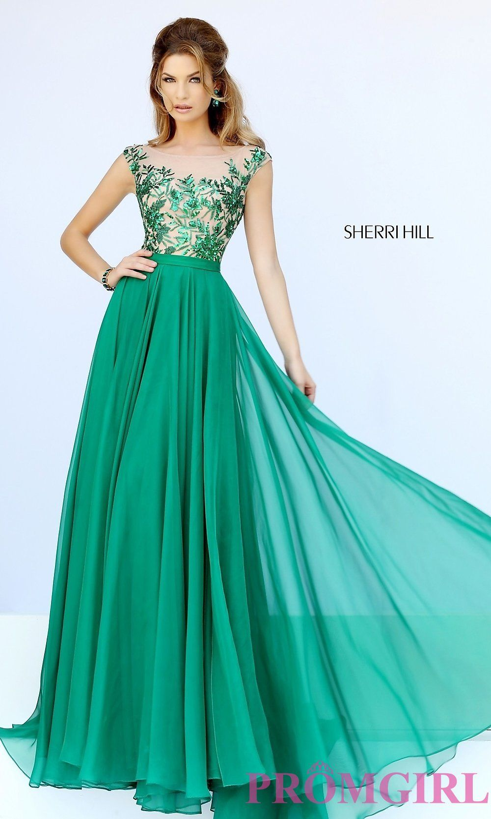 Sherri Hill Cap-Sleeve Long Sequined Prom Dress | Prom and Prom ...