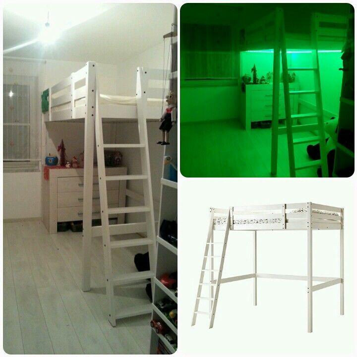 Ikea Hack Stora Anderung Von 140 X 200 Cm Auf 110 X 200 Cm Und Umbau Der Trepp Ikea Loft Bed Ikea Loft Ikea Bed