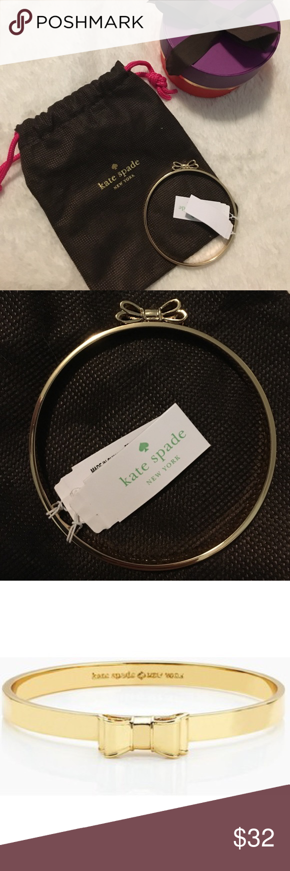 Kate Spade New York Bow bangle bracelet Brand new Kate Spade Gold Moon River bow bangle with dust bag and storage box. Perfect to add to your arm candy :) kate spade Jewelry Bracelets