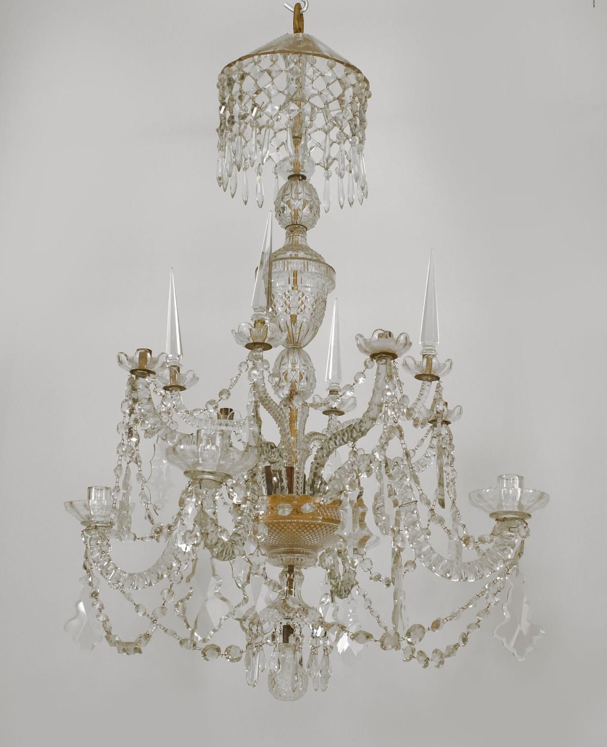 Georgian Chandelier: English Georgian 8 Scroll Arm Cut Crystal Chandelier On 2