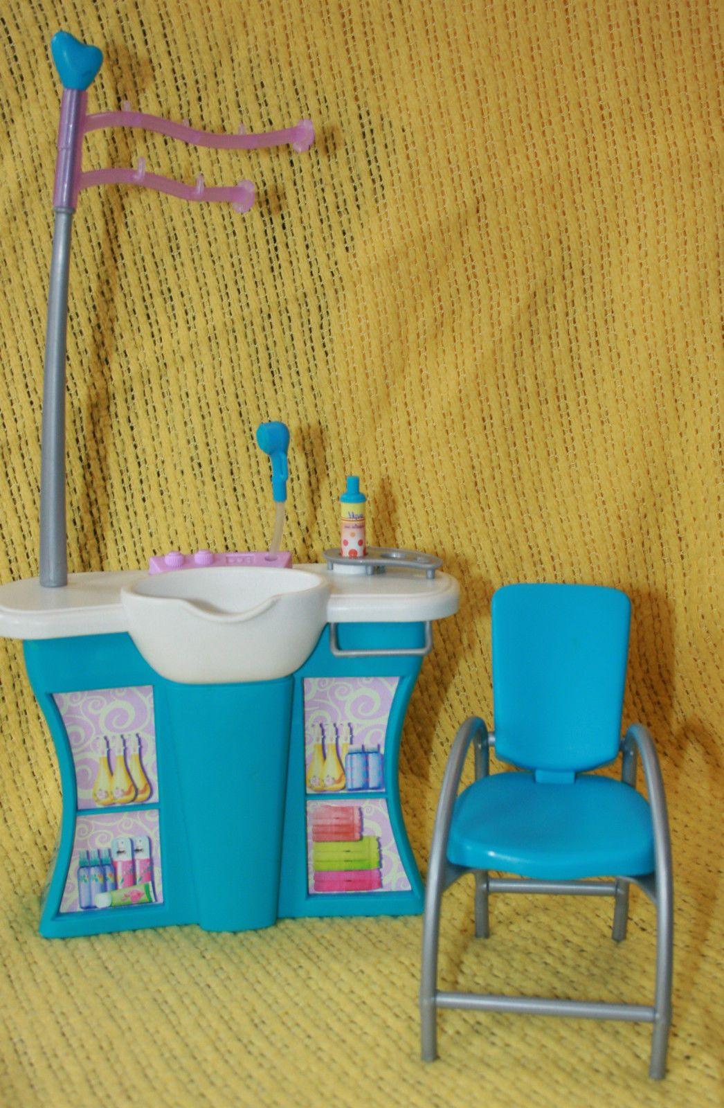 Barbie 2003 mattel salon furniture pieces hair wash sink & reclining ...