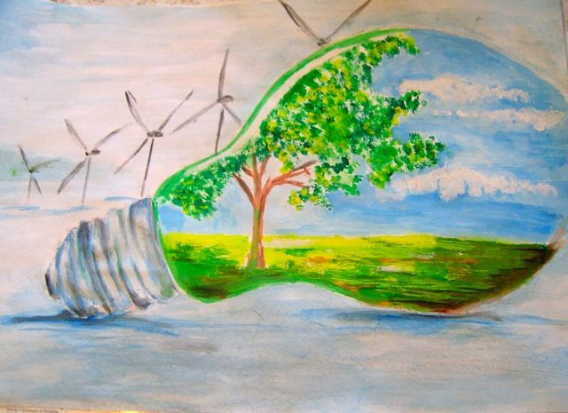 This water colour drawing was created by marina donev for for Save energy painting