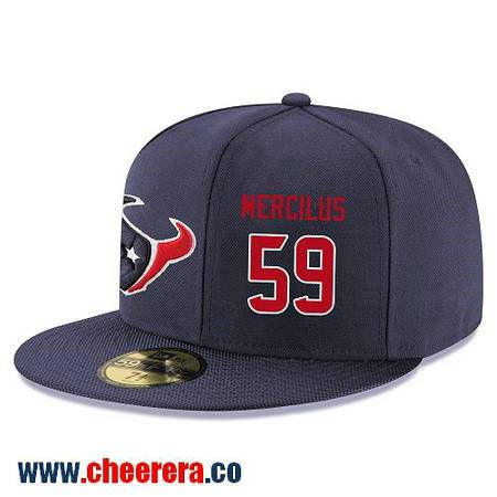 Houston Texans #75 Vince Wilfork Snapback Cap NFL Player Navy Blue with Red Number Stitched Hat