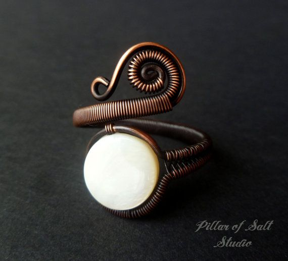 Adjustable ring  Wire wrapped jewelry by PillarOfSaltStudio
