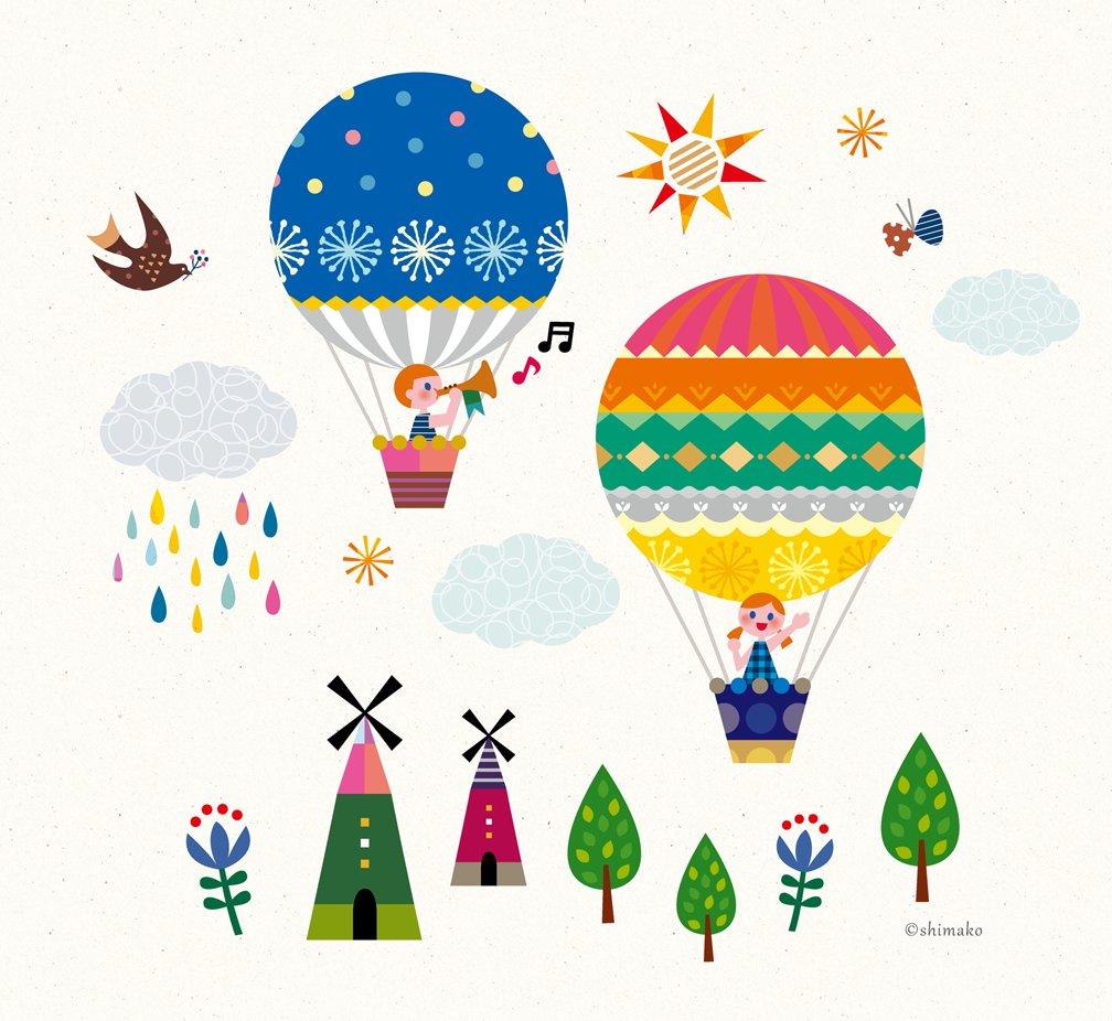 気球でお散歩 | アルバム | pinterest | 気球、かわいいイラスト、アルバム