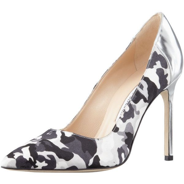 a52e2dfd76ccb Manolo Blahnik BBMal Camo-Print Pump, Black/White ($303) ❤ liked on  Polyvore featuring shoes, pumps, manolo blahnik shoes, pointed toe high  heel pumps, ...
