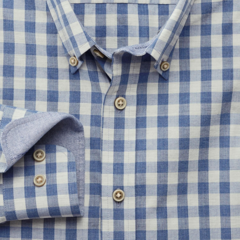 Blue melange gingham extra slim fit shirt casual shirts