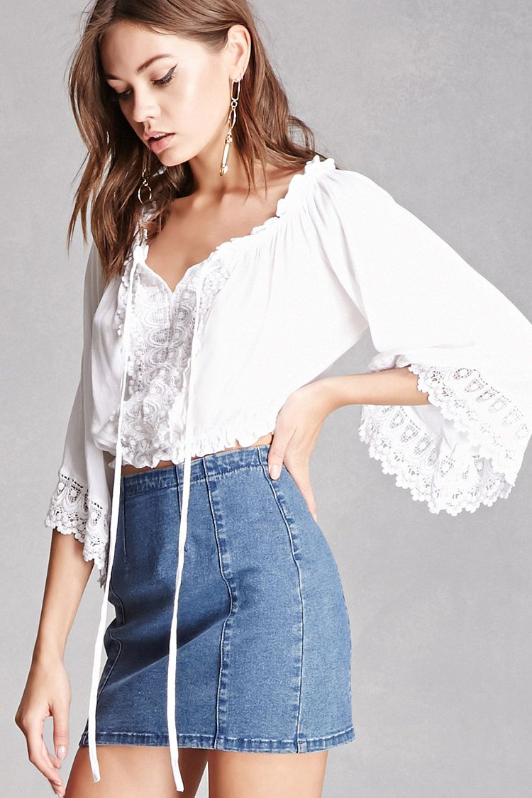 1eacd35a5b24d A textured woven off-the-shoulder top featuring a crochet-paneled front and  trim