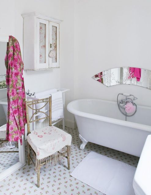 shabby chic bathroom, love the vintage etched mirror over the bath