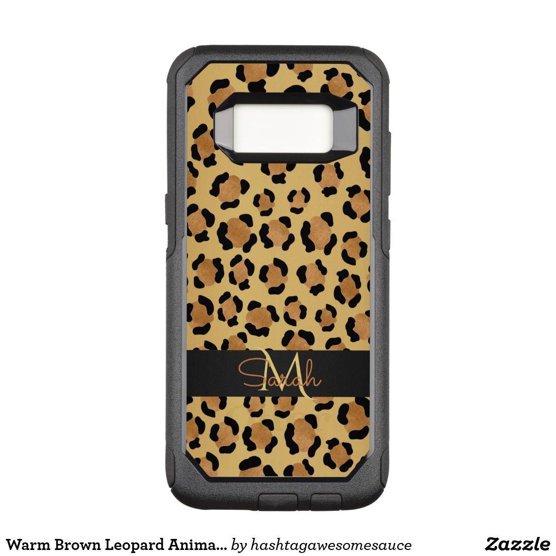 Warm Brown Leopard Animal Print Monogram OtterBox Commuter Samsung Galaxy S8 Case