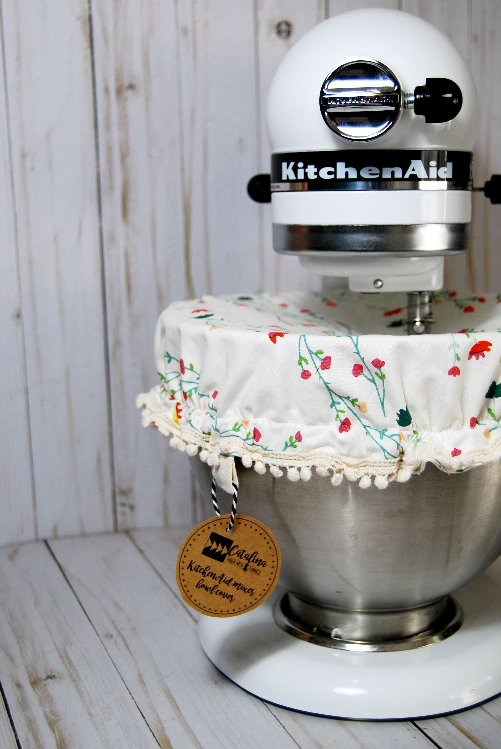 Kitchen stand mixer bowl cover white floral fabric etsy