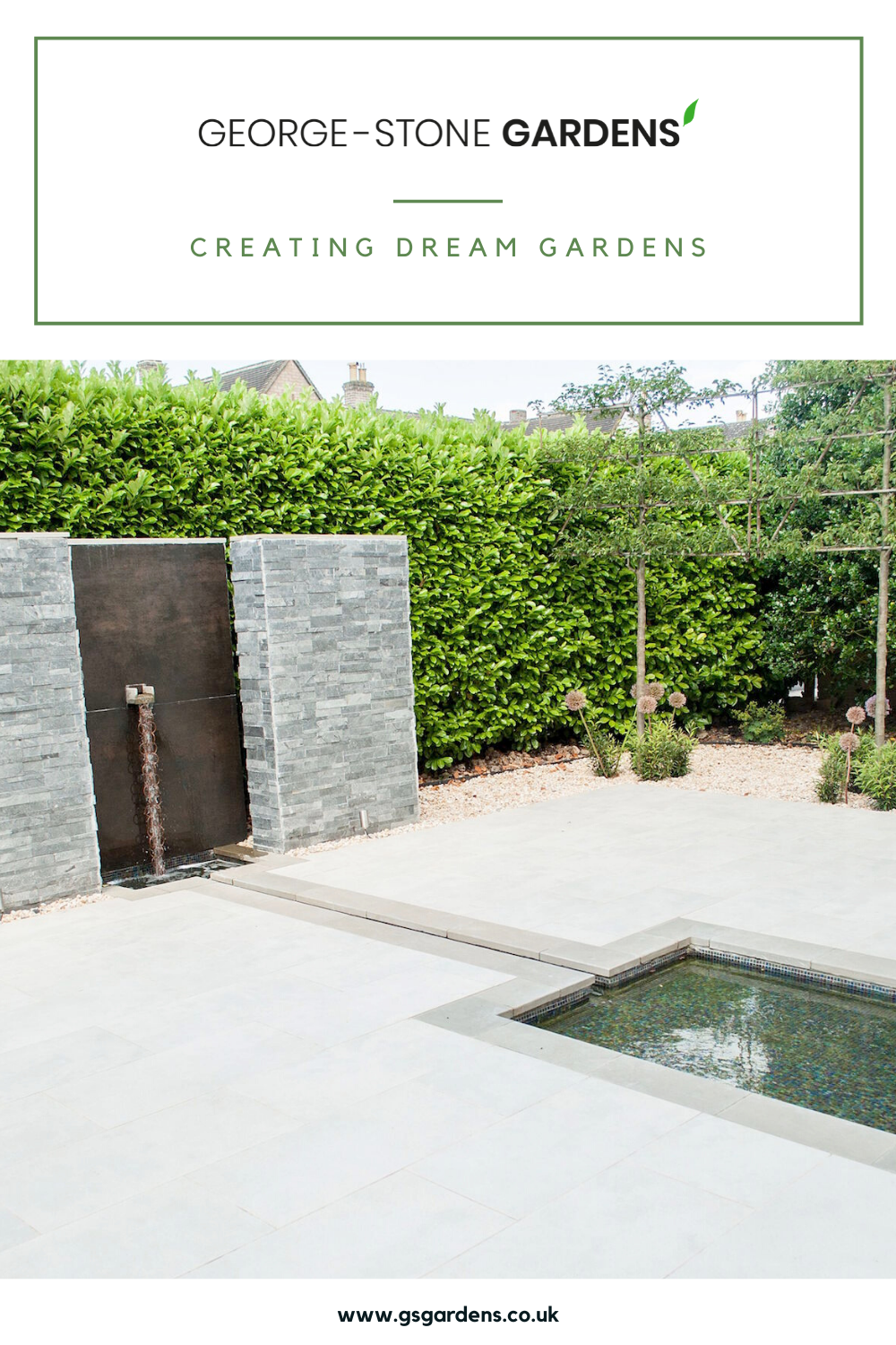 We created a beautiful space in this hotel garden that would be suitable as an outdoor wedding venue. #waterfeatures #commercialgardendesign #gardenlandscaping
