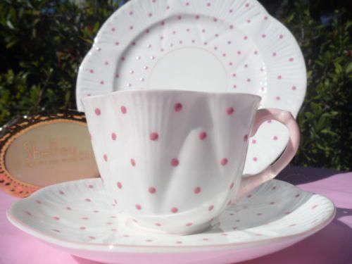 Dainty Pink Polka Dot Trio Cup Saucer And Salad Plate 8 325 00 Set At 10dave34 On Ebay 5 10 15 Saucer Pink Polka Dots Plates