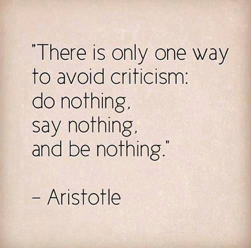 There is only one way to avoid criticism:Do nothing, say nothing, and be nothing..Aristotle..