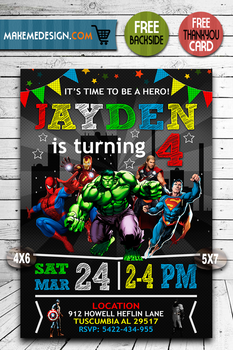 10 avenger invitations ideas