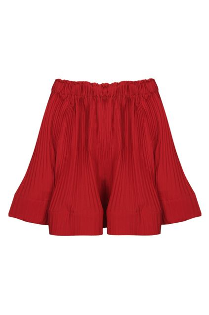 Pleated Red Chiffon Mini Skirt #Romwe