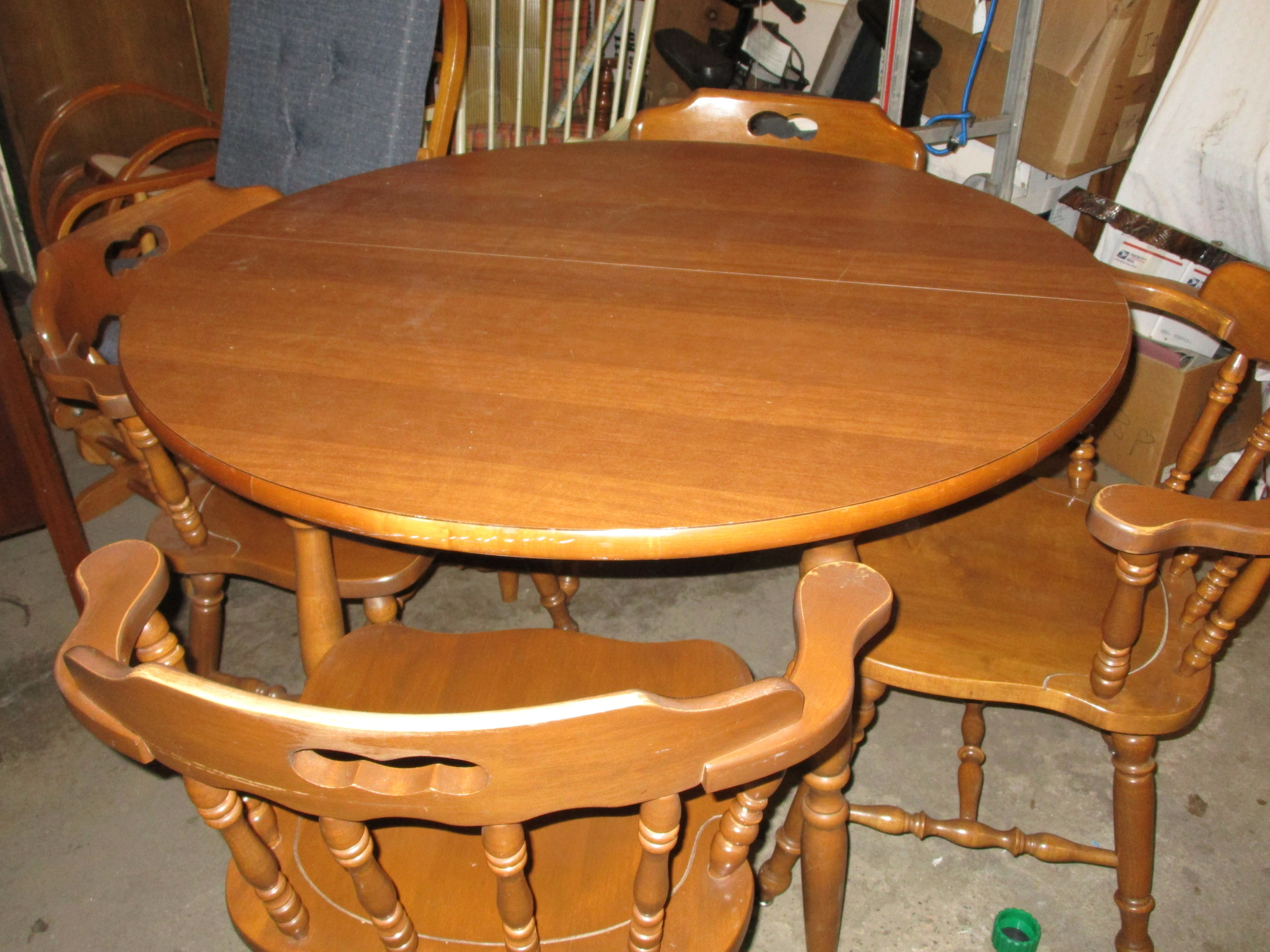 Maple Round Table With 4 Captain Chairs Sold Kitchen Decor