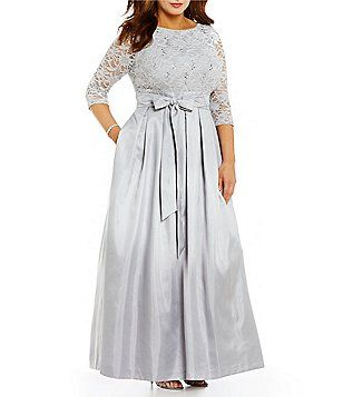 a24138a87895 Jessica Howard Plus Boat Neck 3/4 Sleeve Lace Bodice Taffeta Ballgown