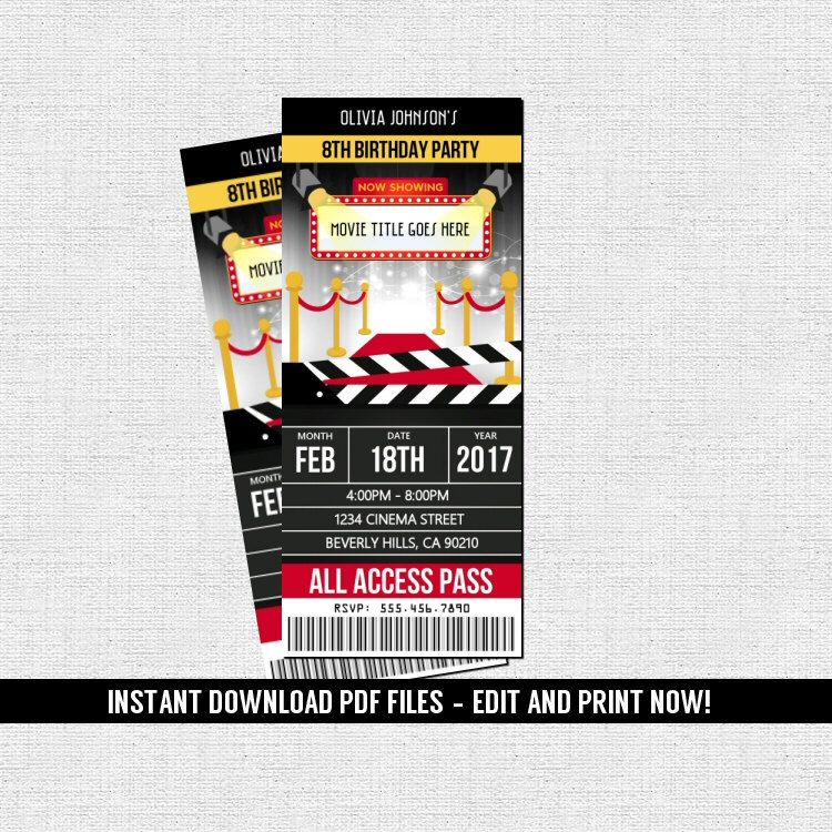 Movie Hollywood Ticket Invitations Birthday Party (Instant Download ...