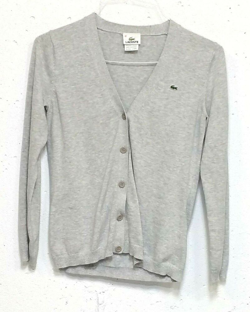 6210b8cb0f1 Lacoste Womens Grey 100% Cotton Long Sleeve Button Down Cardigan Sweater 40  M #Lacoste #Cardigan #Casual