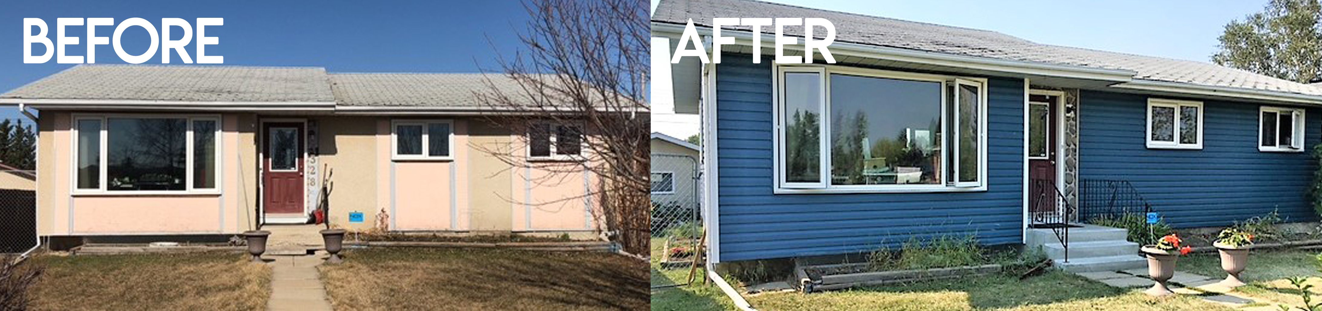 Installed Insulation And Royal Heritage Blue Vinyl Siding Over Top Of Existing Stucco On This Bungalo Exterior Renovation Bungalow Renovation Blue Vinyl Siding