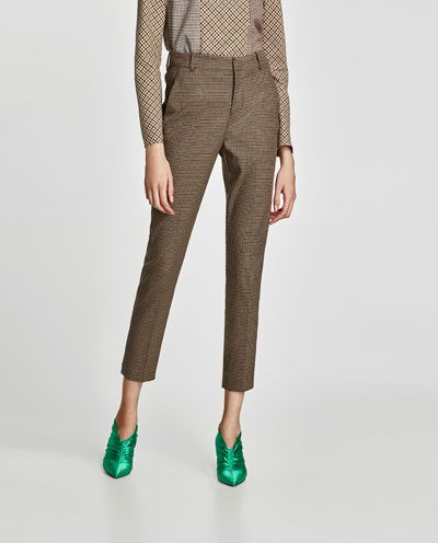 5090e4cd HIGH WAIST CHECKED TROUSERS-View all-TROUSERS-WOMAN | ZARA United States