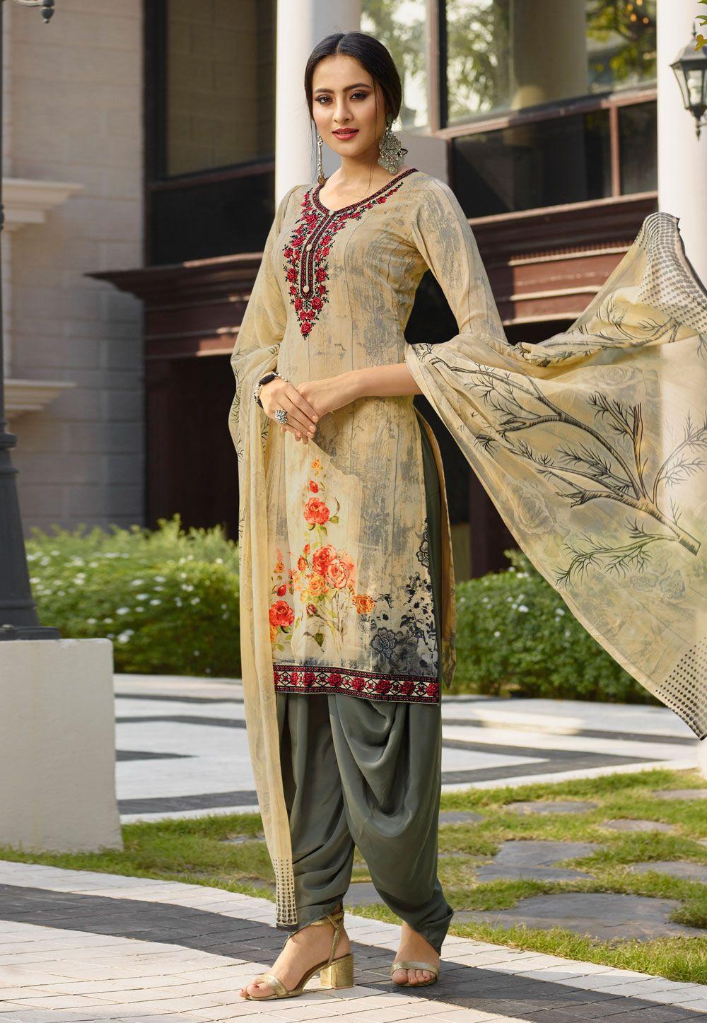 1c71197d49 Buy Beige Crepe Punjabi Suit 154442 online at lowest price from huge  collection of salwar kameez at Indianclothstore.com.