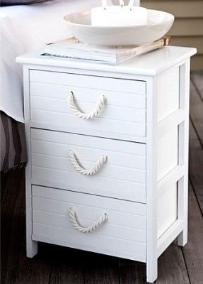 Nautical Nightstand Attach Thick Rope Handles In White For A Sophisticated Cottage Look Nautical Bedroom Beach House Decor Nautical Home