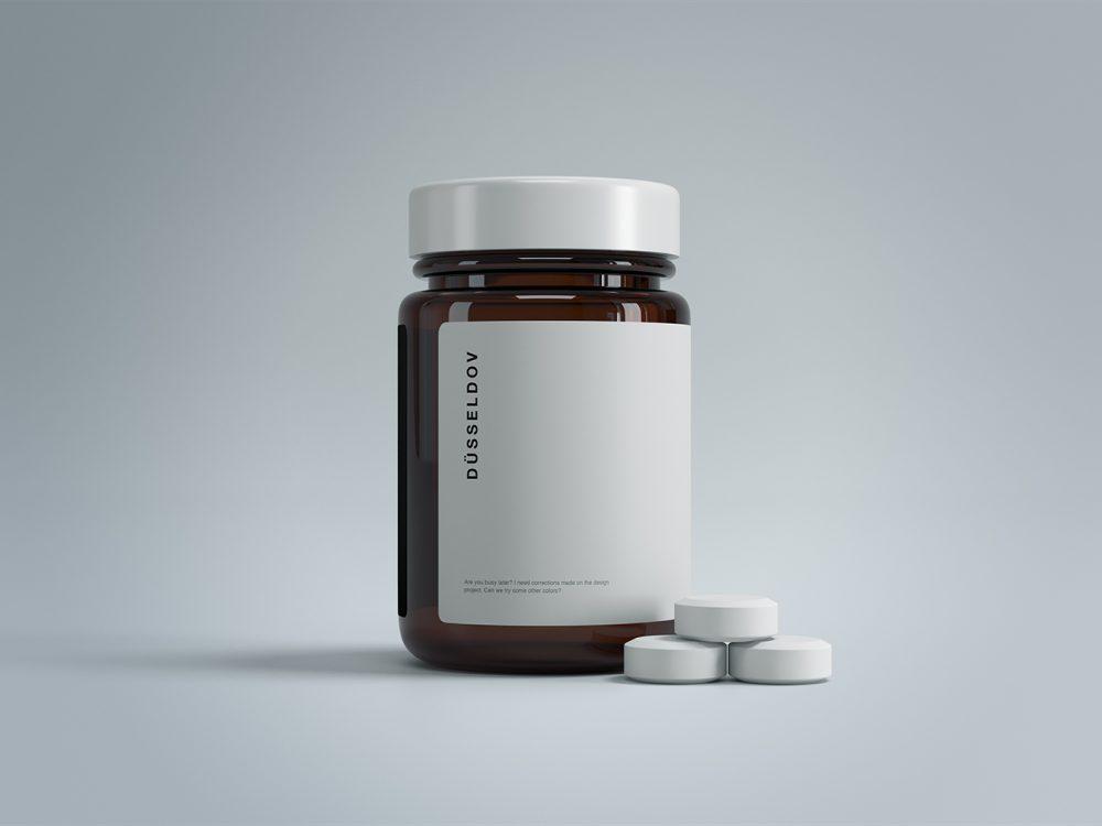 Medicine Bottle With Pills Mockup Free Mockup In 2020 Pill Packaging Medicine Bottles Supplement Bottles