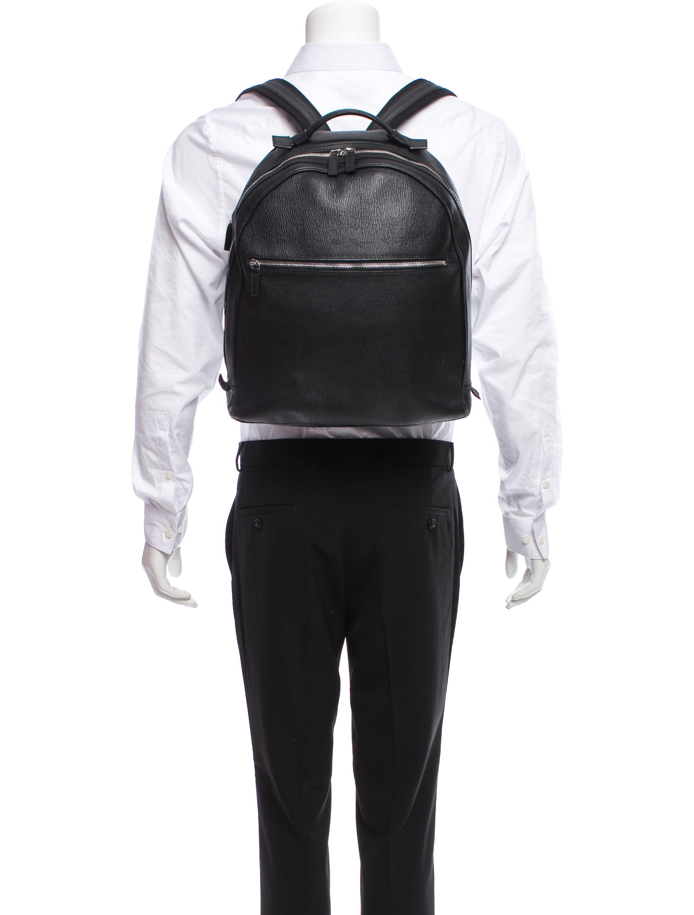 Men s black textured leather Salvatore Ferragamo backpack with silver-tone  hardware a626f74cdef09
