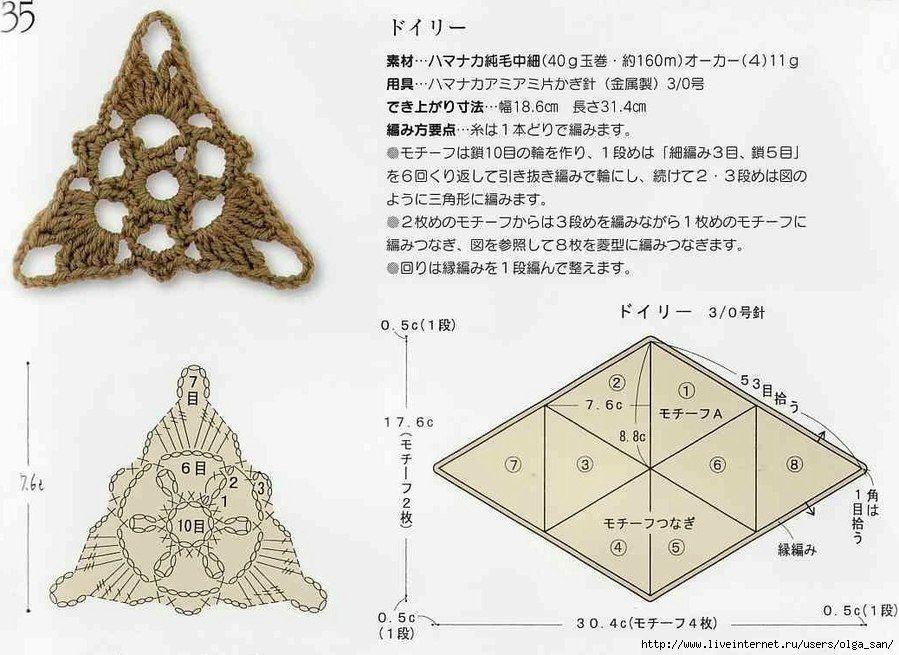 diagramas esquemas de crochet triángulos | Tejido | Pinterest ...