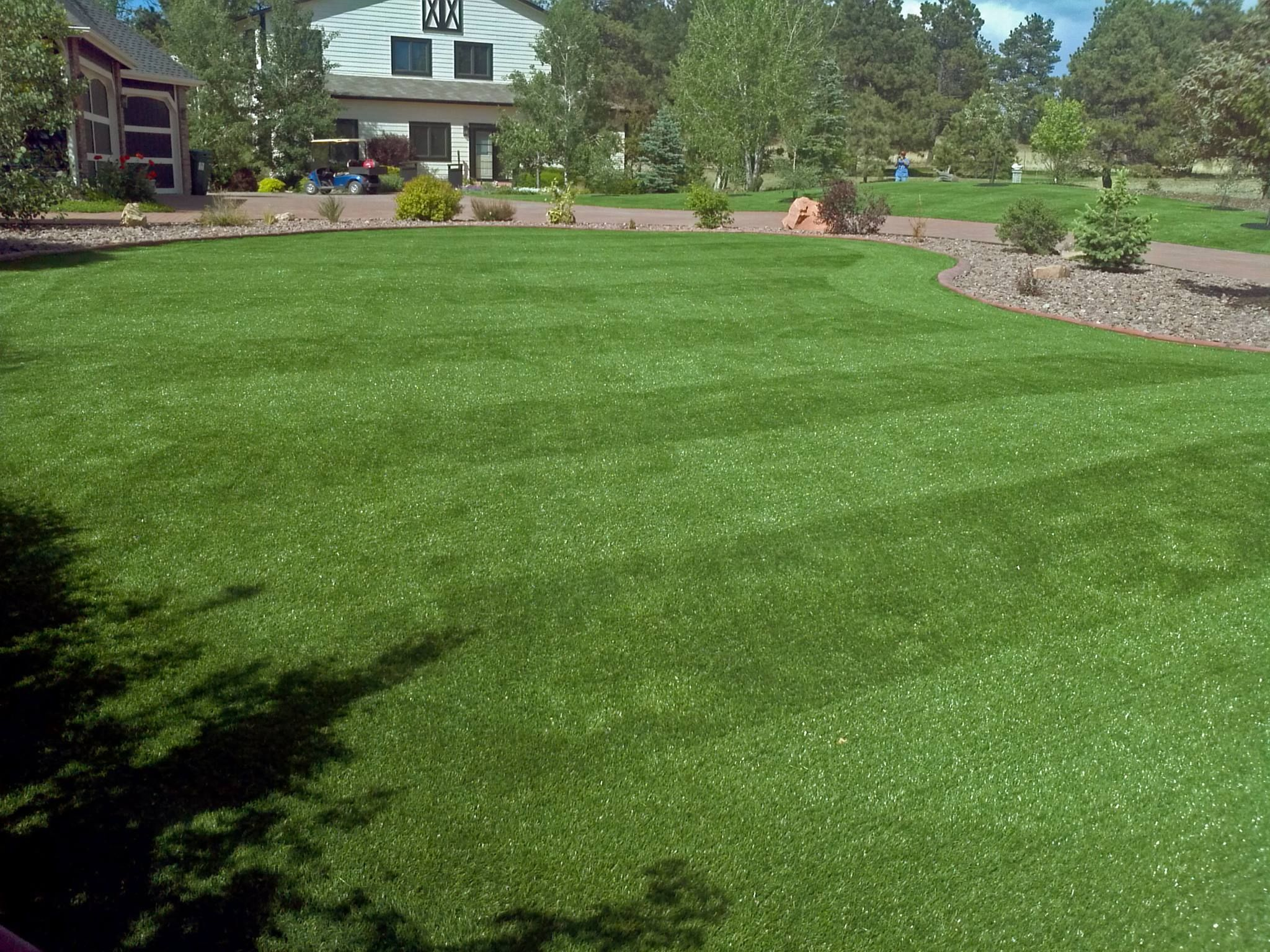 backyard install at its finest with mow lines all 100 artificial
