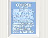 COOPER Personalized Name Print / Typography Print / Detailed Name Definitions / Numerology-calculated Destiny Traits / Educational