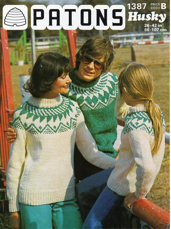 eef266f57 womens mens childrens fair isle sweater knitting pattern pdf chunky ladies  fairisle yoke jumper 26-42