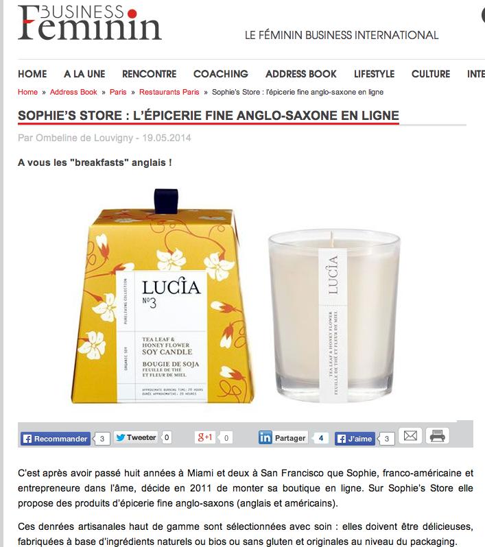 May 19th 2014 - Business o Feminin by Ombeline de Louvigny http://businessofeminin.com/sophies-store-lepicerie-fine-anglo-saxone-en-ligne/