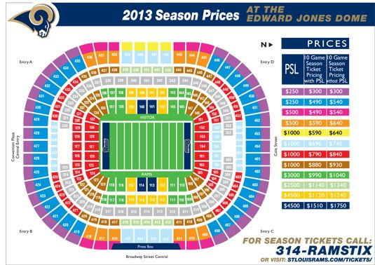 St louis rams seating chart stl rams pinterest edward