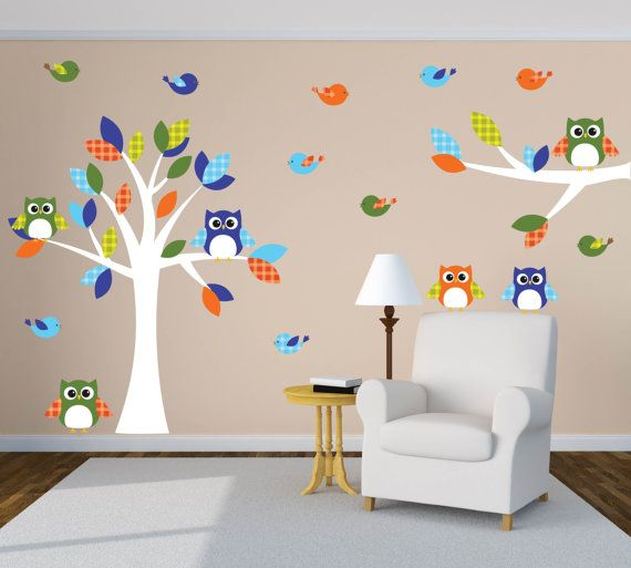 owl wall art, owl nursery decor, tree wall decal, tree nursery decal