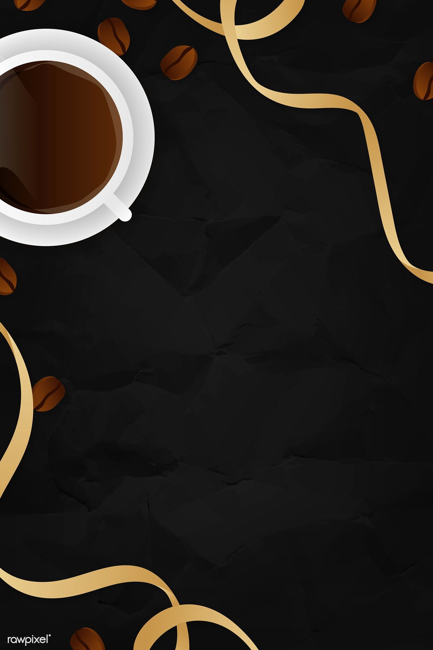 Download premium vector of Coffee cup black background
