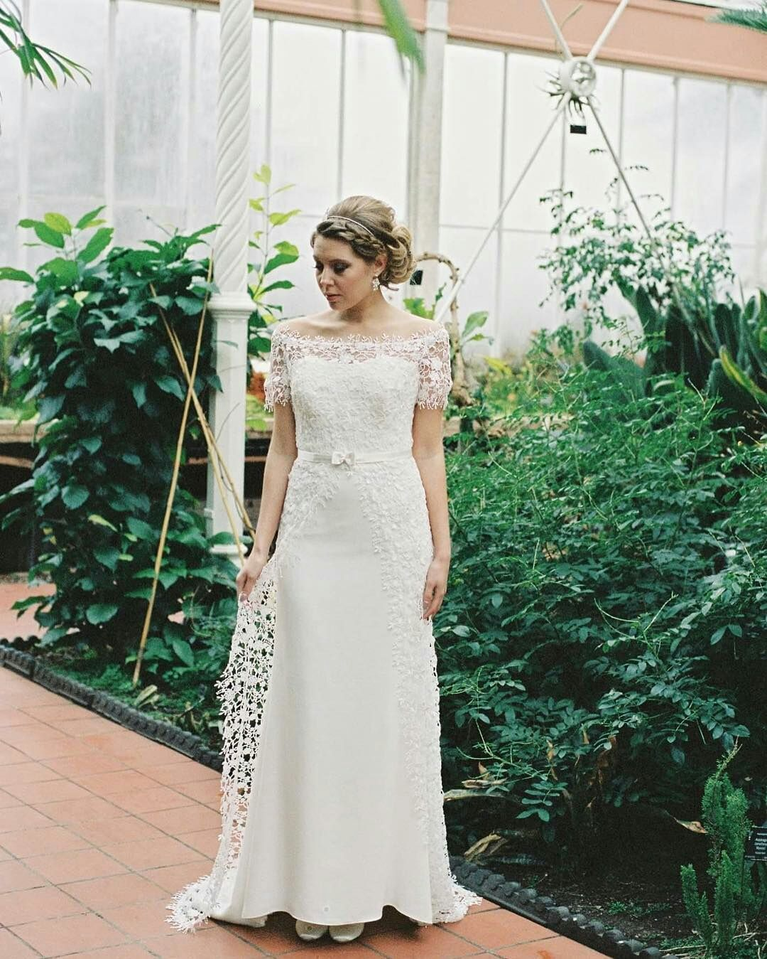 Custom wedding dress designers  Have off the shoulder short sleeve weddingdresses like this or