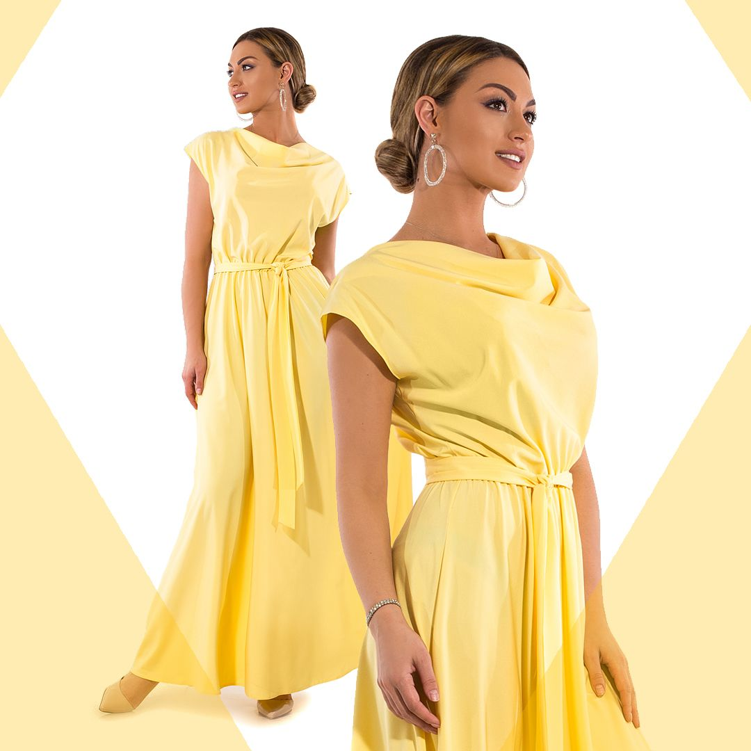 56640c0e893 Платье в пол из софта с хомутом