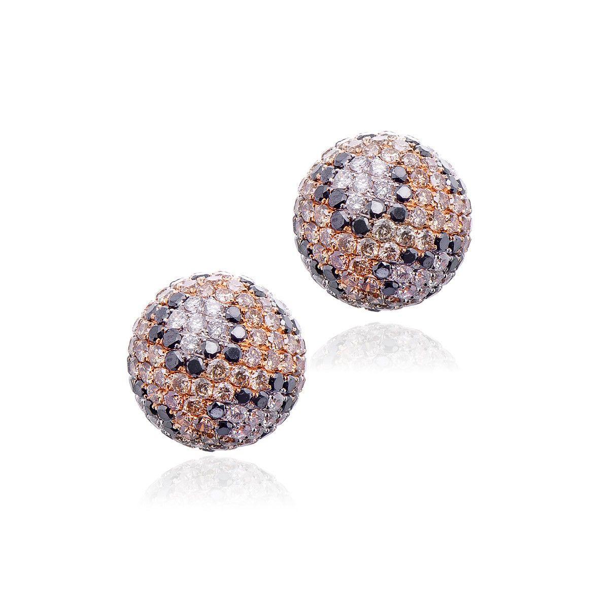 18kt Rose Gold Brown Diamond Earrings. $5,950.