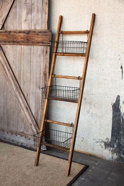 Storage Organization Ladder Decor Farmhouse Diy Farmhouse Shelves