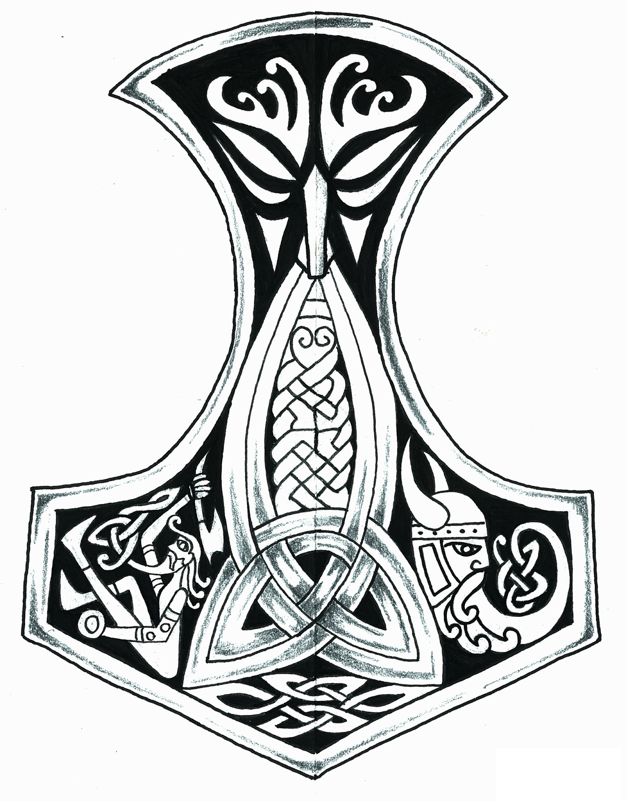 The Hammer of Thor Viking tattoos, Mjolnir tattoo