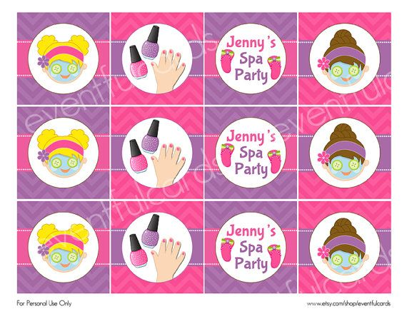 Spa Birthday Party Circles Cupcake Topper Sticker Printable – Printable Spa Party Invitations
