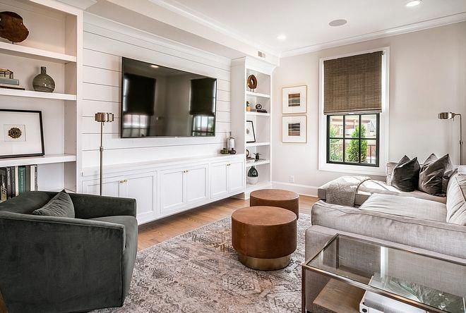Modern Meets Traditional Living Room Design Modern Farmhouse Living Room With Built Ins Around Tv In 2020 Small Family Room Living Room Built Ins Living Room Remodel
