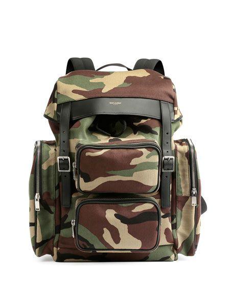 b0cb3d5a356 SAINT LAURENT Utilitarian Camo-Print Backpack