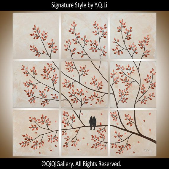 Copper painting Square art Large Wall art acrylic Birds art